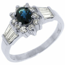 Solitaire with Accents Sapphire White Gold 14k Fine Rings
