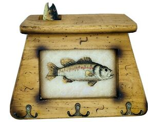 Primitive CABIN FISHING Tackle Bait shop Wood wall Sign plaque Creel Fish Hooks