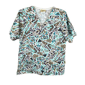 TAFFORD Scrubs Women's XS Turquoise/Brown/Black Triangle Pattern Top w/Pockets