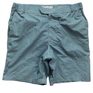 Crown & Ivy Mens Size M Blue White Geometric Swim Trunks Shorts