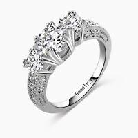 White Topaz Silver Three-stone Ring 14KT White Gold Filled Women's Wedding Ring