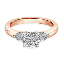Hallmarked 14K Rose Gold Solitaire 1.84Ct Diamond Womens Engagement Ring Size P