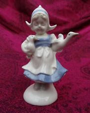 LITTLE DUTCH GIRL WITH BLUE DRESS CARRYING DUCKS, PORCELAIN CHINA, CROWN MARK