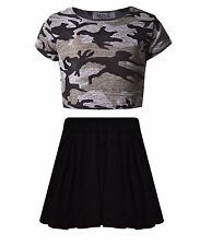 Girls Camouflage Crop Top & Black Skater Skirt Set Kids Children Outfit