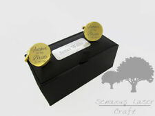 Engraved round Gold 20mm Cuff links & Personalised Gift Box Groom gclr11