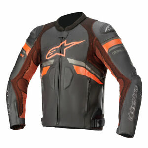 Alpinestars GP Plus R V3 Rideknit Motorcycle Leather Jacket Black / Fluo Red