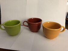 3 Fiestaware HLC Tea Cups Retired, green, goldenrod, persimmon