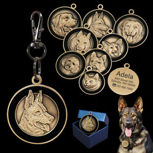 3 pieces Dog ID Tag Engraved 3D Breeds Name Label For Dogs Necklaces Pendants