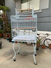 53' Large Rolling Metal Bird Cage w/ Open Playtop, Stand & Perch White