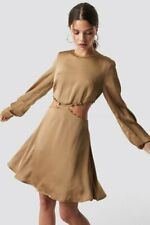 Iva Nikolina x NA-KD Flirty Short Buttoned Satin Brown Dress - Size: UK 14 (EU42