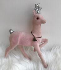 Vintage Pink Christmas Flocked Reindeer Made In Japan 9�