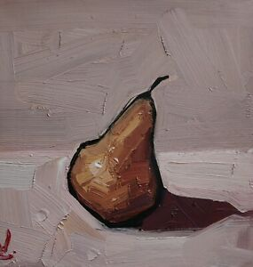 YELLOW PEAR OIL PAINTING BY ARTIST VIVEK MANDALIA IMPRESSIONISM 12 X 12