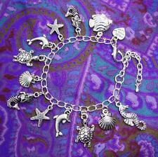 Childs MERMAID Dolphin Seahorse Starfish Turtle Silver Plate Charm Kids Bracelet