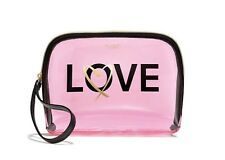 Victoria's Secret Love Clear Light Pink Beauty Bag Cosmetic Make Up Case NWT