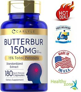 Butterbur Extract 150 Mg Migraine Headache Brain Health Support, 180 Capsules