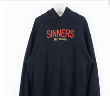 Balenciaga Sinners-embroidered hooded cotton sweatshirt Black Sz SMALL Oversized