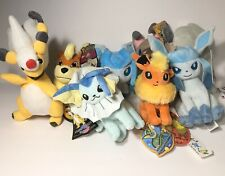 Pokemon TOMY XY Plush Stuffed Animal Toy Lot Rockruff Glaceon Flareon