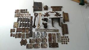 Vintage Architectural Salvage Hardware Lot - Hinges, Hooks More
