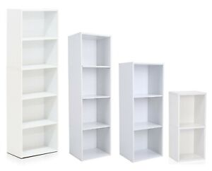 Elegant White Wooden Cube Shelving Rack Book-Case CD DVD Display Shelf Organizer