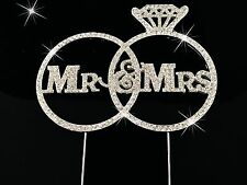 Bling MR & MRS WEDDING Ring Diamante Rhinestone Gem Cake Topper Silver UK