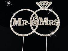 Bling MR & MRS WEDDING Ring Diamante Rhinestone Gem Cake Topper Silver