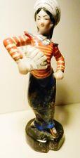 "Porcelain 6 1/2"" Dancing Oriental Thai Lady with Fan Figurine-Japan-Gold Trim"