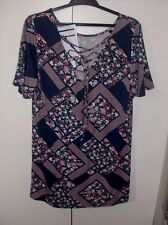 GEORGE LADIES BLUE FLORAL TOP WITH LACE UP BACK UK SZ 12 NWOT