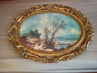 Bild Barock Rokoko Oval Holz Gold Antik Sehr guter Zustand 90x70x10 cm