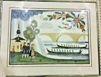 Hans Prins Swedish Folk Art Rowing Print Rosemaling after Snarf Andersson Framed