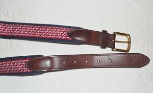 VINEYARD VINES Red and Navy Print Belt with Leather - 36 - NWOT