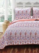 2pc Amber Twin Quilt Set Floral Garden Orange/Purple/Blue Barefoot Bungalow