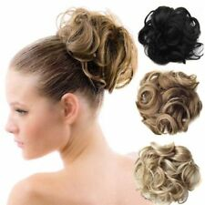 AU Hair Extensions Wavy Curly Synthetic Hair Bun Wig Hairpiece Clip in Scrunchie