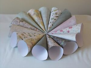 20 BOTANICAL THEMED CONFETTI CONES READY ASSEMBLED