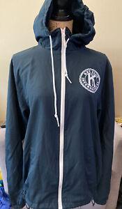 Key Club International Jacket Zip up hoodie hooded Windbreaker Blue Size Medium