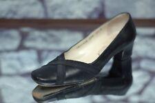 Salvatore Ferragamo Women's Black Criss Cross Accent Leather Luxury Heels 5.5 B