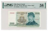 CHILE banknote 1000 Pesos 1980 PMG AU 58 Choice About Uncirculated
