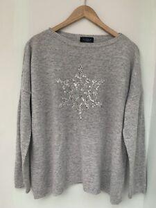 Luella Cashmere Wool Oversized Grey Silver Star Jumper  (worn by 12/14)