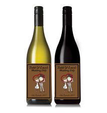 Personalised Vintage Bride Groom Wine Bottle label Wedding Gift Thankyou present