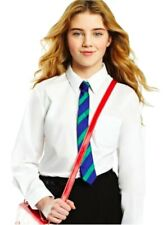 EX BHS Twin Pack Girls Slim Fit School Shirt Blouse Sky Blue Ages 4-16y