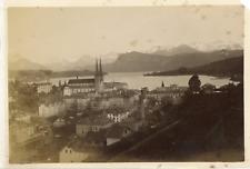 Switzerland, Lucerne, Watch Tower and Bridge  Vintage albumen print.  Tirage a