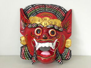 Wooden Hand Carved Indonesian Barong Mask From Bali.....