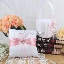 Wedding Bridal Double Heart Guest Book Pen Set Purple Satin Bow Reception Decor