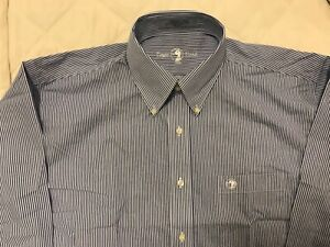 Mens Duckhead Long Sleeve Blue and White stripe dress shirt size Large