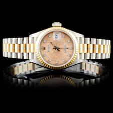 Rolex Tridor Gold DateJust Diamond Ladies Watch Lot 319