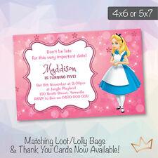 Personalised Disney Alice In Wonderland Birthday Invitations Party Invites
