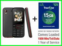 TracFone 1 Year $125 Plan 1500 Min/Text/Data +Free Candy Bar Prepaid Basic Phone
