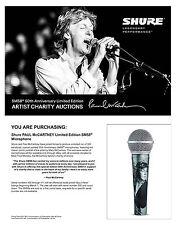 SHURE and Paul McCartney * sm58 MICROPHONE * 50th Anniversary * prezzo unitario € 290