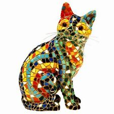 Mosaic Cat Figurine - Multi Coloured Sitting Cat - Hand Painted  Barcino (Large)