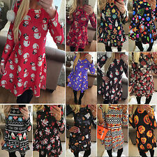 Womens Lady Christmas Party Long Sleeve Skater Flared Swing Mini Dress Xmas Gift