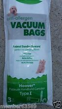 Vacuum hepa Bag fit Hoover Platinum canister AH10005 3 Pack Type I UH30010COM